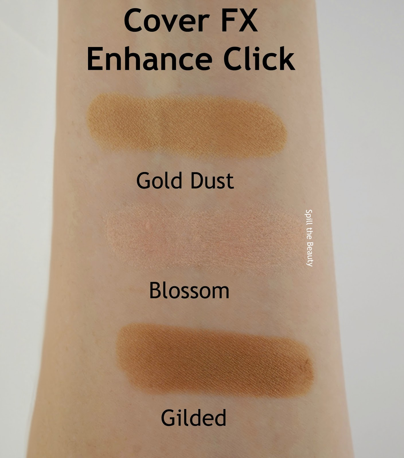 cover fx enhance click review swatches gold dust, blossom, gilded arm swatches