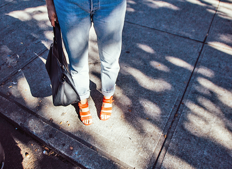 Levi's 501 buttonfly, Marais USA Jardin heel, Celine Edge bag, heleneisfor, Warby Parker Dorothy sunglasses