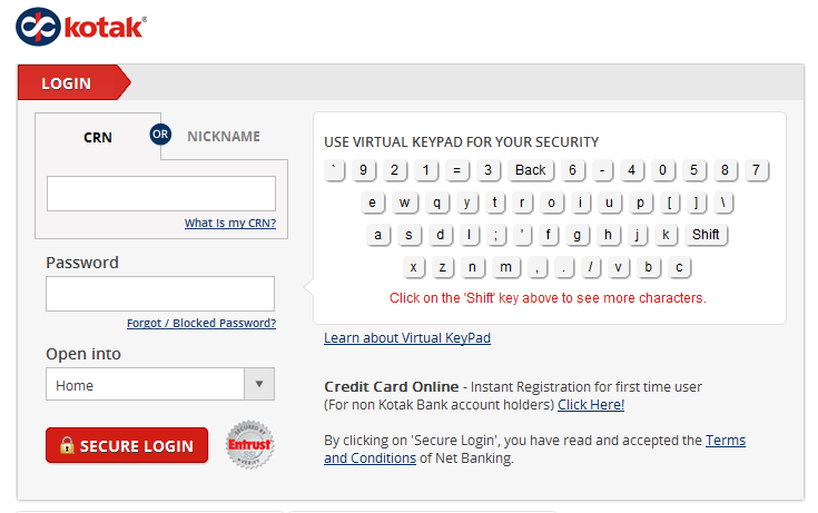 Kotak Mahindra Bank Login Page