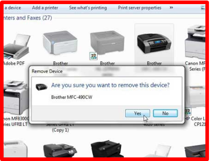 Uninstall Printer Windows 7