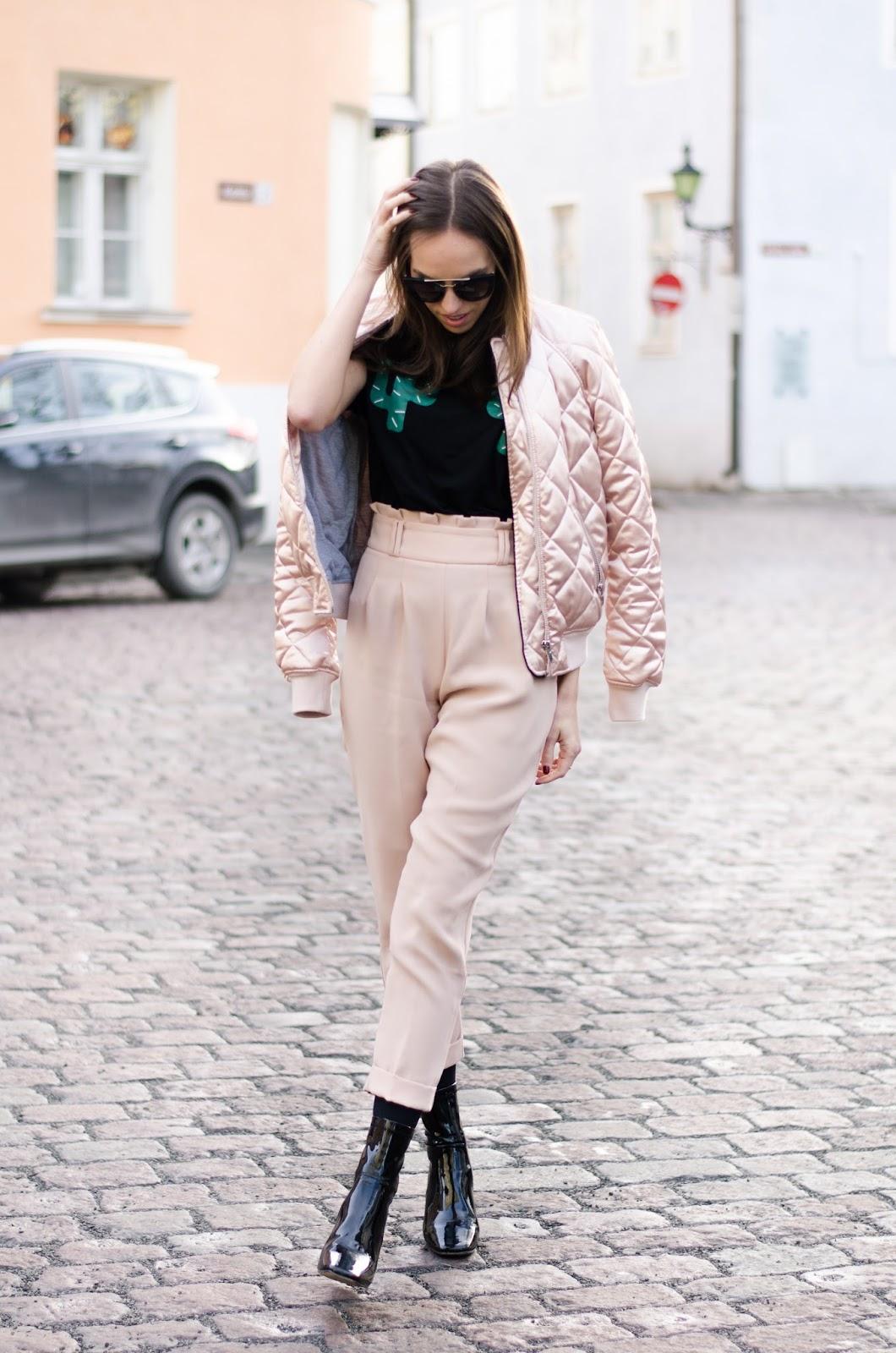 kristjaana mere zara pink high waisted pants outfit