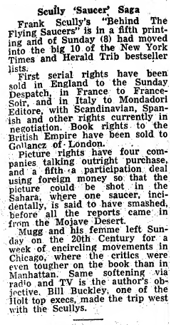 Frank Scully's 'Behind The Flying Saucers' Makes Best Seller's List, Picture Rights Discussed - Variety 10-11-1950