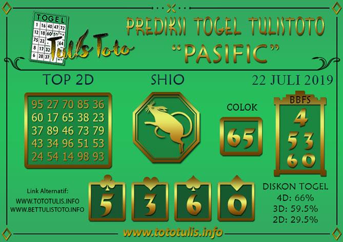 Prediksi Togel PASIFIC TULISTOTO 22 JULI 2019