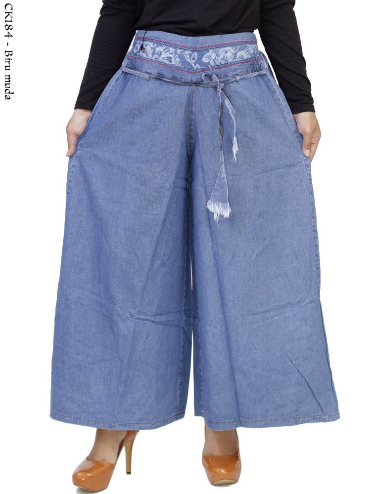 Ck184 Celana Kulot Jeans Panjang List Bunga Tersedia 2