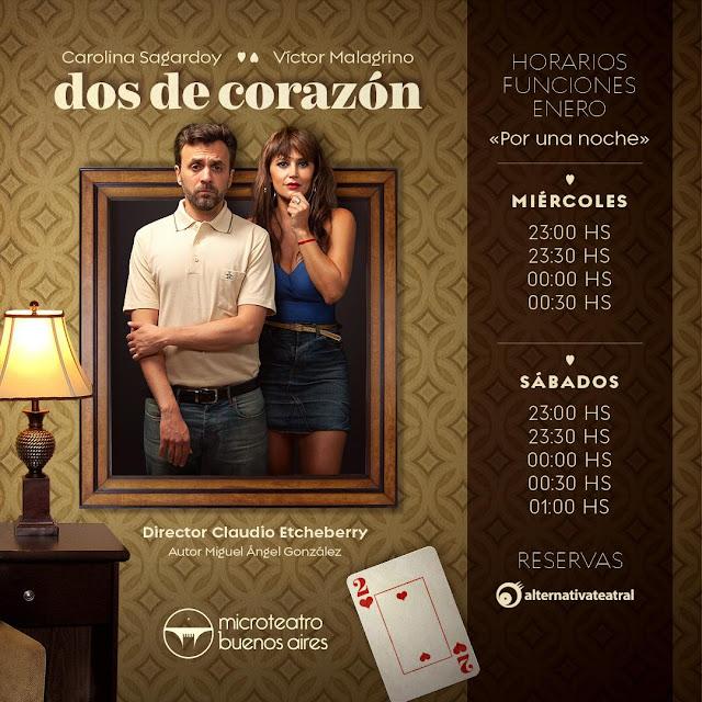 """""""dos de corazón"""" con Victor Malagrino y Carolina Sagardoy en el Microteatro"""