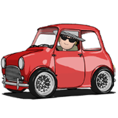 Line Creators Stickers Mini Size Cute Car Animation Example With