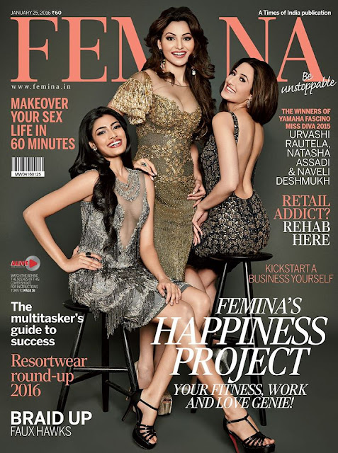 Urvashi Rautela, Natasha Assadi and Naveli Deshmukh on Femina Magazine Cover 2015
