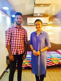 Keerthy Suresh in Blue Dress with Cute Smile with a Fan