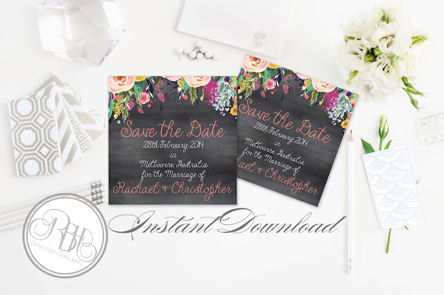 watercolour boho wedding save the date by rbhdesignerconcepts.com