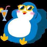 日焼けのイラスト「サングラスのペンギン」