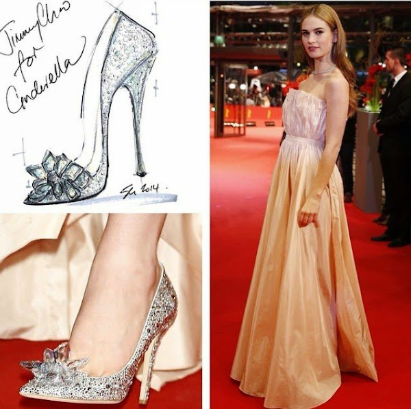 Lily James In Dior Dress Jimmy Choo Shoes