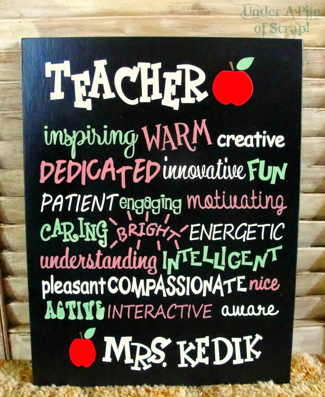 Teacher, sign, painted sign, teacher gift idea