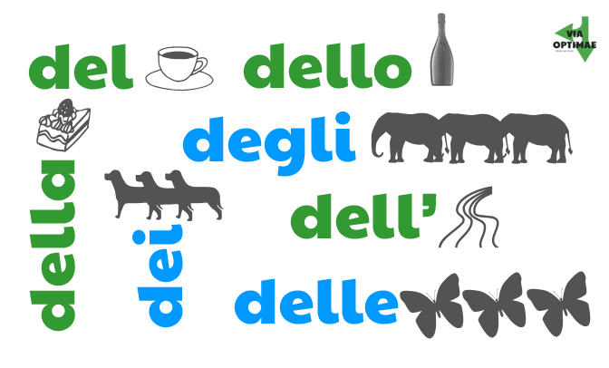 Partitive articles, illustrated; del, dell' dell, dei, degli, della, delle, lesson & workbook from Via Optimae, https://www.viaoptimae.com/2014/08/the-partitive-article.html