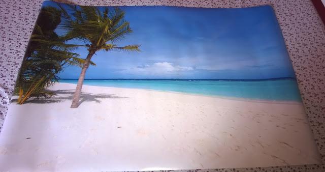 Poster mit Palmen, Sand Strand und Meer