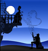 Bir erkeğin balkondaki sevgilisine evinin önünde müzikli serenat yaparken notaların kalp oluşturması