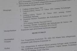 Contoh SK Penetapan Tim Pengembangan Kurikulum Untuk Tingkat TK/PAUD/KB
