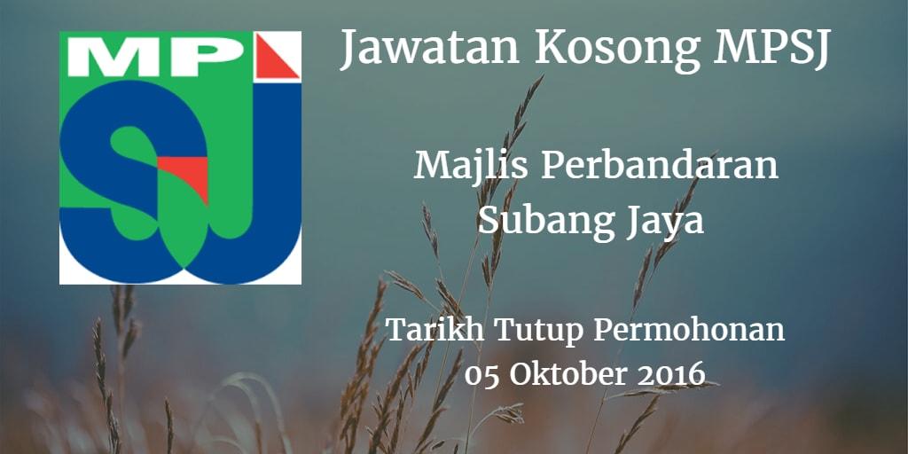 Jawatan Kosong MPSJ 05 Oktober 2016