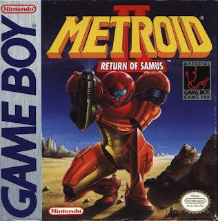 Portada de Metroid II: Return of Samus (GameBoy, 1991). Muestra a Samus armada y ataviada con su traje naranja arrodillada de frente