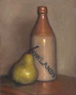 Still life oil painting of a green pear beside a brown earthenware bottle.