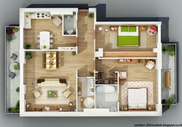 32 Denah Interior Rumah Minimalis Modern Tipe 21, 36, 45, dan 54