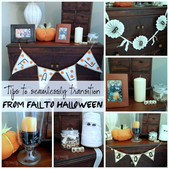 Seamlessly transition from Fall to Halloween in decor at www.diybeautify.com