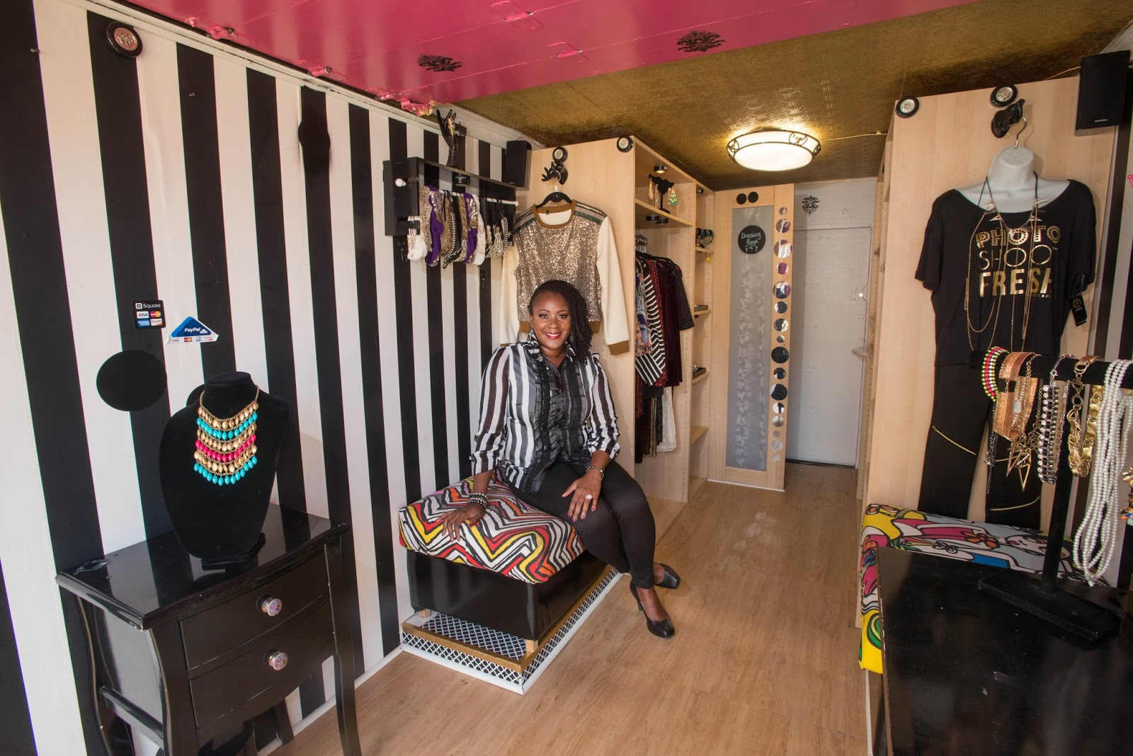 American Mobile Retail Association  July 2017     tour the CJKollective Fashion Boutique  pictured above   a mobile  boutique filled with on trend women s clothing and accessories  plush  seating  music