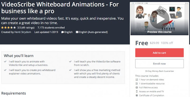 [100% Off] VideoScribe Whiteboard Animations - For business like a pro| Worth 29,99$