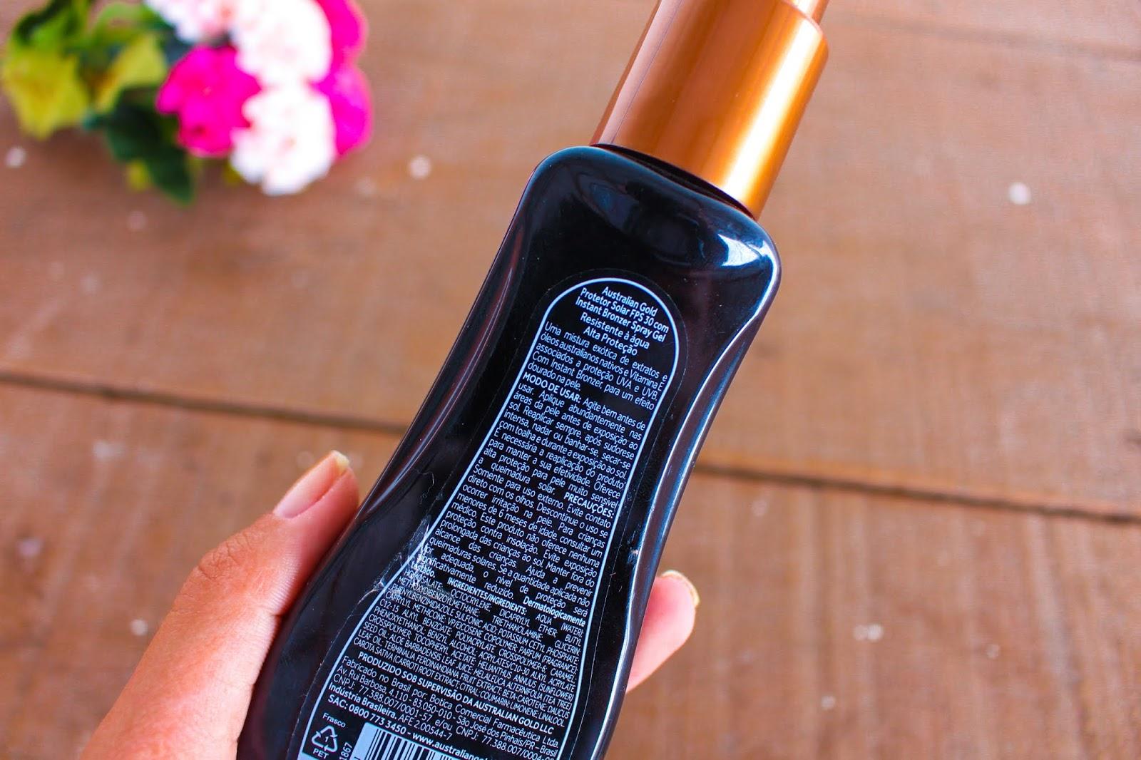 Resenha: Bronzeador Australian Gold Instant Bronzer Spray Gel FPS 30