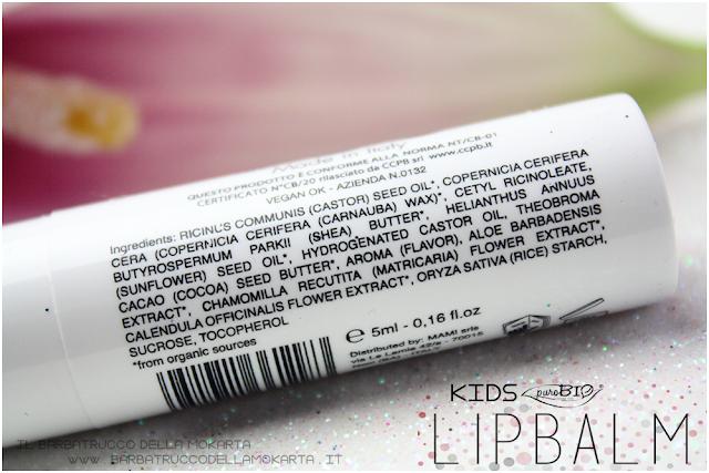 idratazione labbra KIDS  lipbalm balsamo labbra burrocacao Purobio recensione