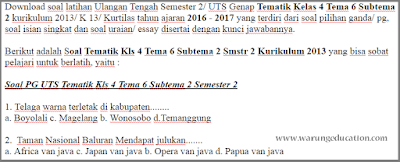 download dan dapatkan Soal Tematik Kelas 4 Tema 6 Subtema 2 Semester 2 Kurikulum 2013 th 2017