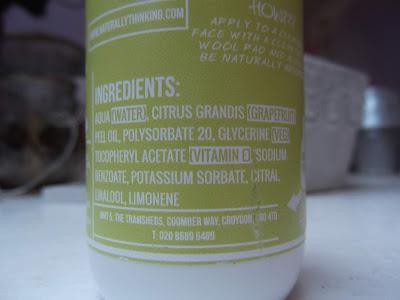 naturally thinking Detoxikačné tonikum s grapefruitom zloženie