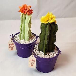 cactus tessuto secchiello latta viola