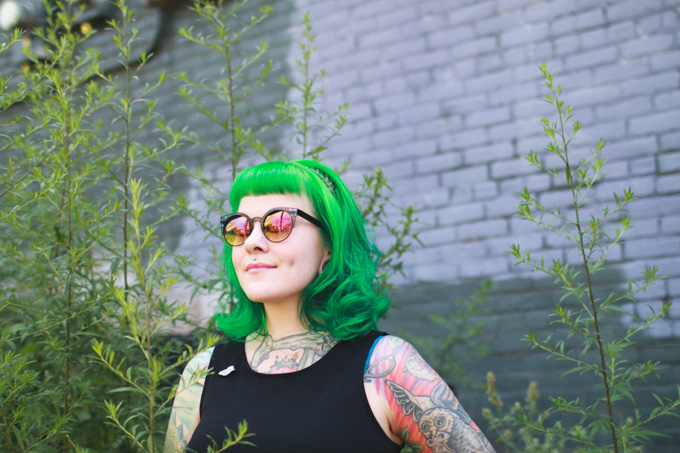 what I wore, ootd, the dainty squid, green hair, sparks hair color