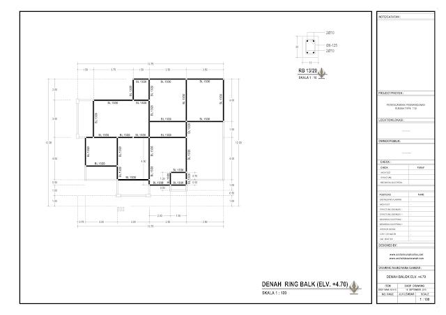 Denah Ring Balok Rumah Lantai 1 - El+4,7 m