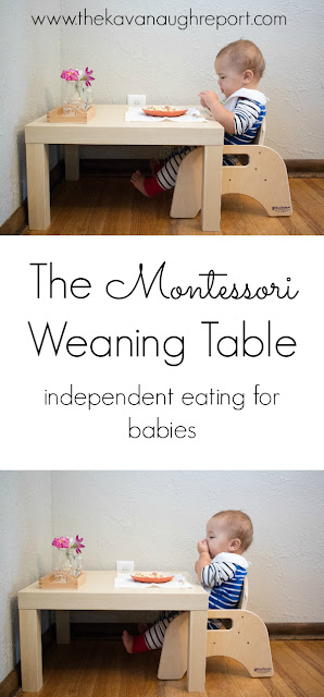 A look at a Montessori weaning table and some ideas on how to make your own.