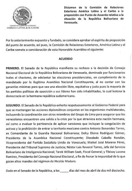 Senado de México discutirá imponer sanciones a funcionarios venezolanos