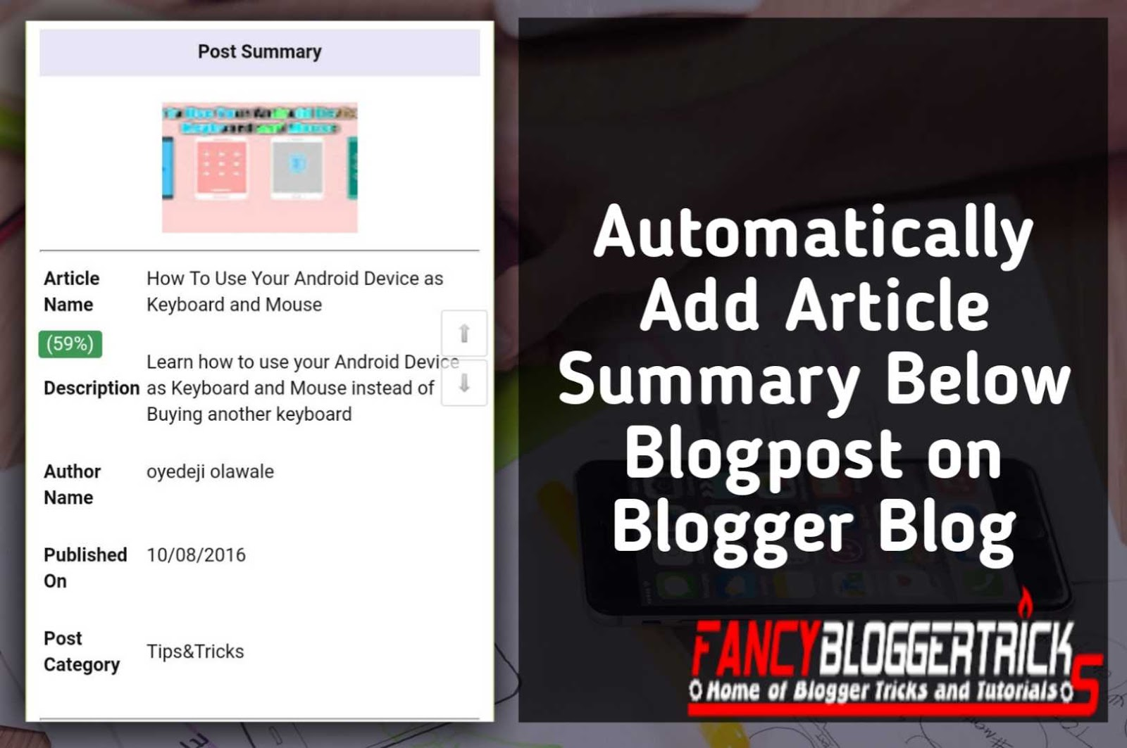 Automatically Add Article Summary Below Blogpost