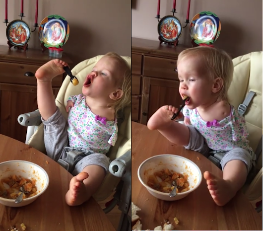 Incredible! Baby born with no hands learns to eat with her feet