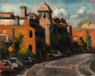Oil painting of several double-story Victorian-era buildings on a semi-circular street with parked cars.