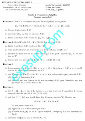 Exercices algebre 1 Espaces vectoriels SMPC