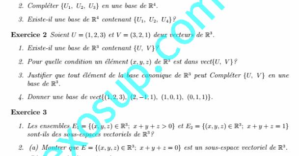 Exercices Algebre 1  Espaces Vectoriels