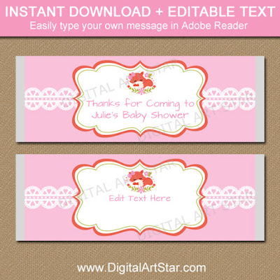 fox baby shower party favors - printable pink woodland baby shower candy bar wrappers