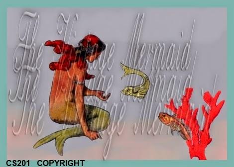 vintage red head mermaid feeding fish
