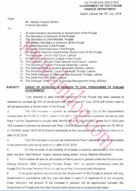 Pension Increase 2018 Finance Department