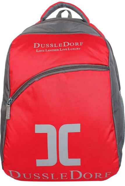 22 Liters Red And Grey Polyester Laptop Backpack