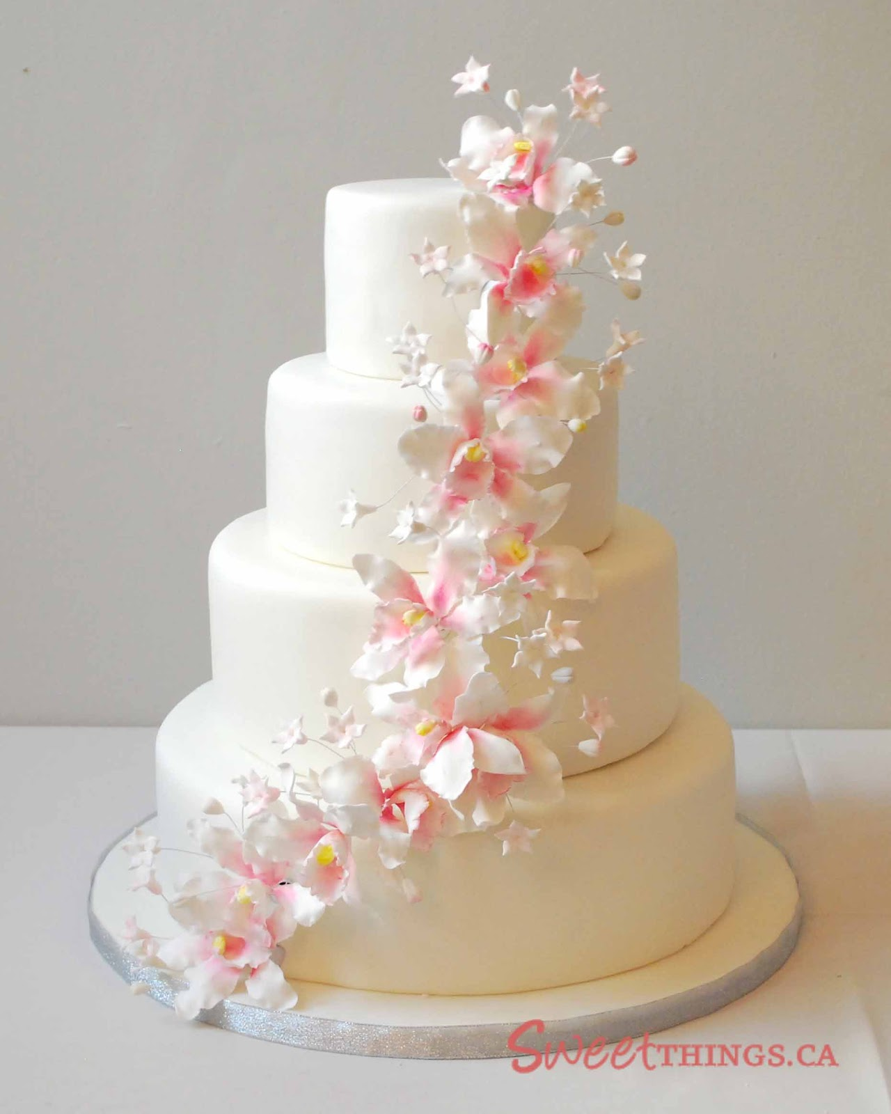 sweetthings 4 tier wedding cake with sugarpaste orchids. Black Bedroom Furniture Sets. Home Design Ideas