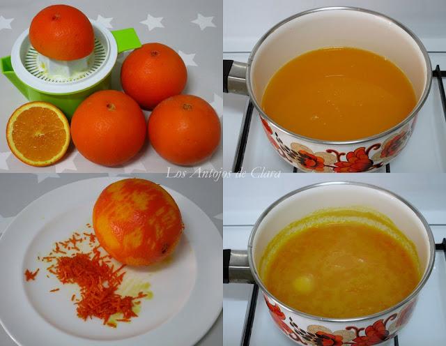 Preparación helado de naranja