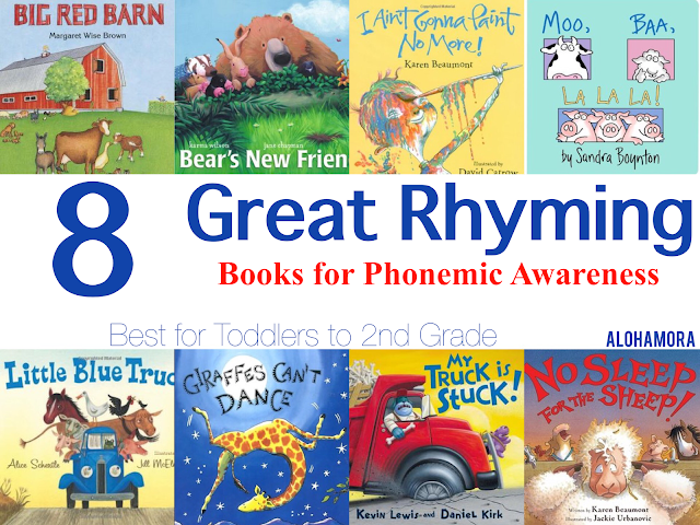 8 Great Rhyming Books for Phonemic Awareness.  These 8 books are fun read alouds to a large group or just your child from Toddlers to 2nd grade.  Books for boys and girls.  Teachers, librarians, mom, parents. Alohamora Open a Book http://alohamoraopenabook.blogspot.com/