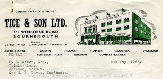 1963 letterhead for Tice & Son Ltd