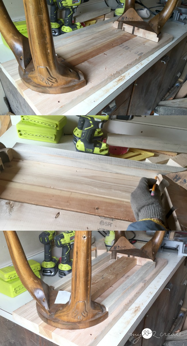 creating supports to build a bench out of barstool legs
